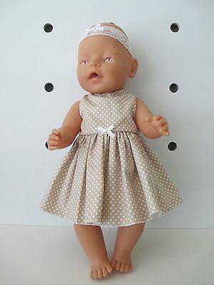 DRESS & HEADBAND suitable Baby Born - CabbageLigt Brown with white spots