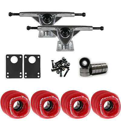 SHARK WHEELS Longboard Package CALI ROLL 60mm RED 180MM RAW Trucks with Bearings