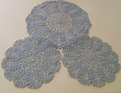 Pretty Blue Cotton Three Piece Hand Crocheted Duchess - Dressing Table Doily Set