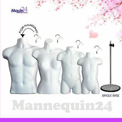 4 MANNEQUIN Torsos White MALE FEMALE CHILD TODDLER Form Set +4 Hangers +1 STAND