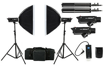 1200W Photo Studio Flash Lighting Kit Strobe head Cooling System Flash Softbox