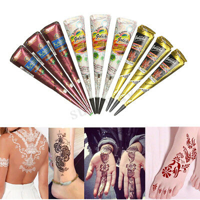 White Black Brown Temporary Tattoo Kit Henna Mehandi Cones Bodyart Paint Paste