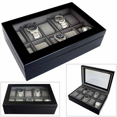 Astin Of London® Luxury Java Black Wooden 10 Watch Box Case With Grey Interior