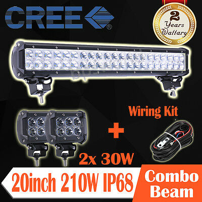 210W 20inch CREE LED Work Light Bar Spot Flood Combo+2PCS 4inch 30W+Wiring Kit