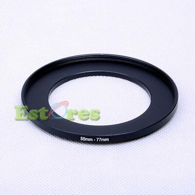 55mm-77mm 55-77 mm 55 to 77 Metal Step-Up Lens Filter Ring Adapter Black