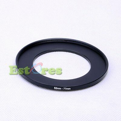 52mm-77mm 52-77 mm 52 to 77 Metal Step-Up Lens Filter Ring Adapter Black