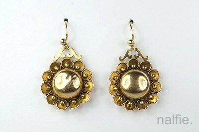 VERY PRETTY ANTIQUE ENGLISH LATE VICTORIAN 15K GOLD EARRINGS c1890
