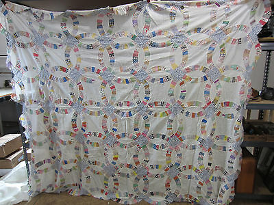 "1940's Hand Sewn Double Wedding Ring Quilt Top   64""x50"""