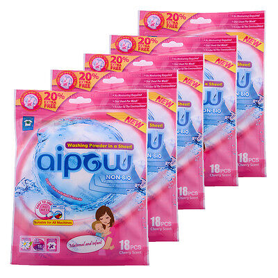 Aipow Multipack 100%Dissolve Detergent 18 sheet Wash Powder Paper Laundry Sheets