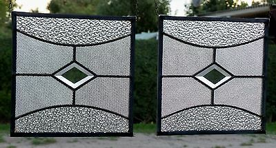 Bleiverglasung 2 originale Fensterbild- Messingverglasungen Art Deco