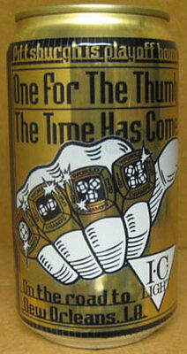 ONE FOR THE THUMB I.C LIGHT 12oz Beer CAN Pittsburgh Steelers Football 1992 gd.1