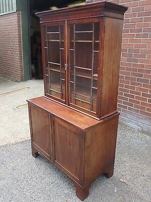 George III antique Regency flame mahogany campaign doctor's bookcase cabinet