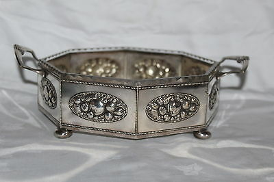 Wmf Silver Plated & Glass Octagonal Dish With Repousse Fruit Design