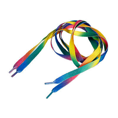 A Pair of Rainbow Multi Coloured Flat Shoelaces - Boot Laces - Trainers - 110cm