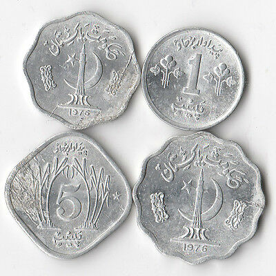 Pakistan 1976 - 4 Coins Lamination Errors Die Cracks Lot #846