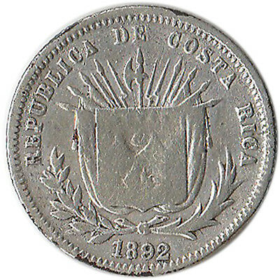 1892 Costa Rica 5 Centimos Silver Coin KM#128 Mintage 280,000