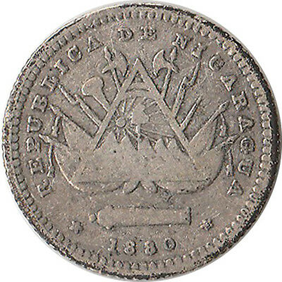 1880 Nicaragua 5 Centavos Silver Coin KM#2 Mintage 256,000 One Year Type