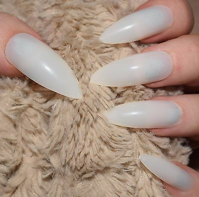 50 X FALSE NAILS FULL COVER STILETTO Extra LONG NATURAL SIZES 0 TO 9 UK SELLER