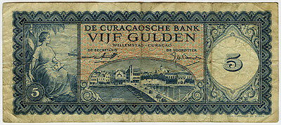 Curacao-Dutch 1954 Issue 5 Gulden Scarce Banknote.pick#38.
