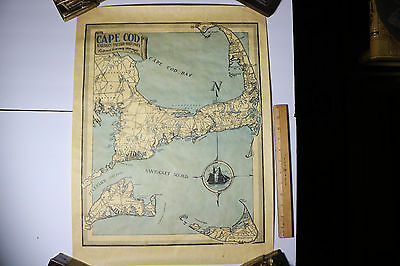 Rare c.1940-50's CAPE COD MARTHA'S VINEYARD NANTUCKET COLOR MAP BY PETER