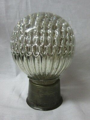 Vintage Staircase Newel Post Finial MERCURY Glass Crystal Ball Banister Brass