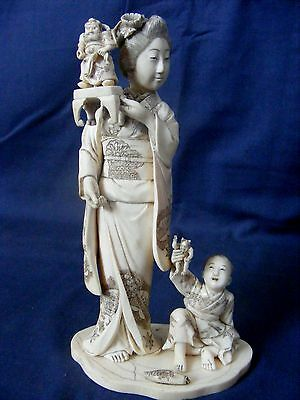 Superb Antique Tokyo School Carved Okimono Mother and Child
