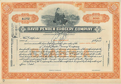 David Pender Grocery Company Class A Stock Certificate VOID