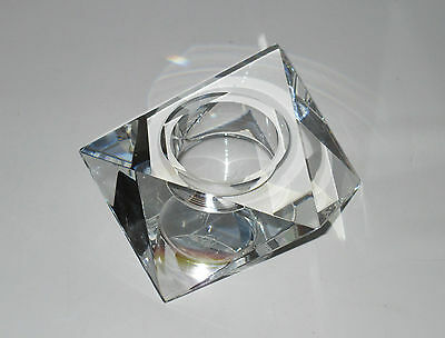 Oleg Cassini Crystal Faceted Candle Holder Triangular Clear Glass Signed