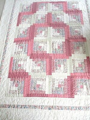 Vintage Pink Ivory Log Cabin Handmade Hand stitched Patchwork Quilt 86 x 66 Twin
