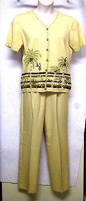 Ladies Alfred Dunner Size M Medium 2 pc Top and Pants Set Embroidery Palm Trees