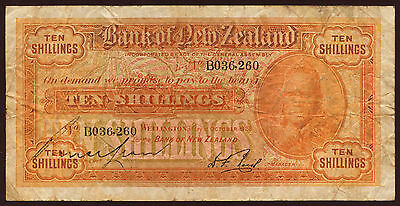 New Zealand 10 Shillings 1928 VG P.S232a