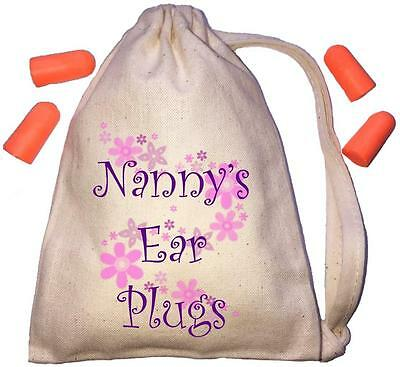 Nanny's Floral Design TINY Ear Plugs Storage Bag & 4 Ear Plugs DIY / Snoring