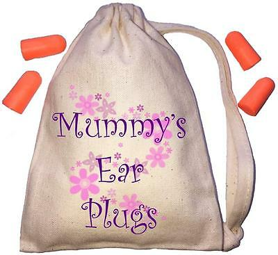 Mummy's Floral Design TINY Ear Plugs Storage Bag & 4 Ear Plugs DIY / Snoring