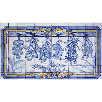 Portuguese Azulejos Tiles Panel Mural CORREIO MOR BLUE YELLOW VEGETABLES KITCHEN
