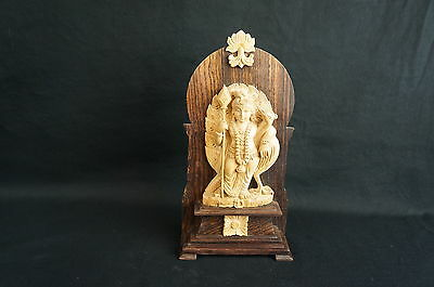 """Great antique/ vintage south asian carved wood sitting diety 8"""" [ [Y8-W7-A9-E9]"""