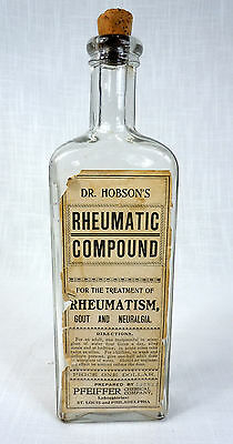 "Antique Dr Hobson's Rheumatic Compound Pfeiffer 11"" Quack Medicine Glass Bottle"