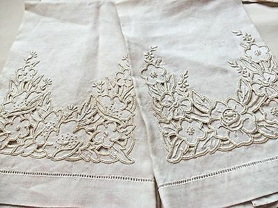 2 Vintage Maderia Guest Towels Antique Embroidered Linen Cream + Dresser Scarf