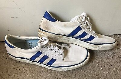 Vintage 80's ADIDAS Spezial White & Blue Canvas Athletic Sneakers Shoes 8.5