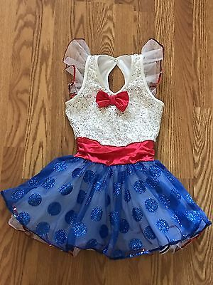 Girl's WEISSMAN Dance Costume Dress Size MC  Patriotic July 4th Red While Blue M