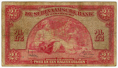 SURINAM 1942 ISSUE 2-1/2 GULDEN RARE BANKNOTE FINE.PICK#87b.