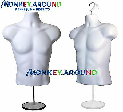 White Male Torso Body Form Mannequin +1 Stand/hook, Display Shirt Tops  Jersey
