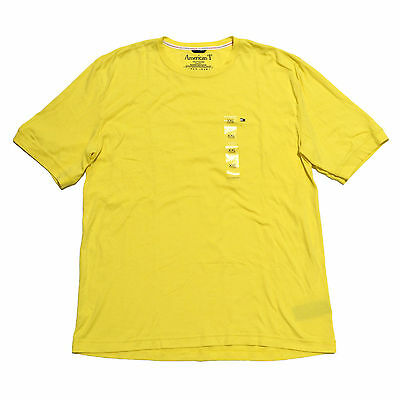 American T T-Shirt Mens Crew Neck Short Sleeve Tee 2X-Large 2XL Yellow Cotton