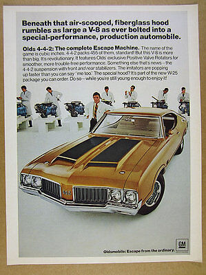 1970 Olds 442 4-4-2 W25 Package color photo vintage print Ad