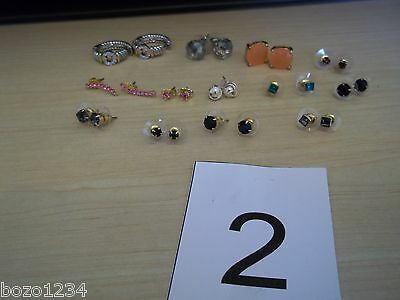 13pr FASHION EARRINGS STONE STUDS HOOPS ASST COLORS PIERCED SILVER GOLD FABULOUS