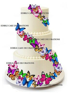 37 PCS BUTTERFLIES MIXED COLOURS Cake Toppers Edible Paper Decorations WEDDING