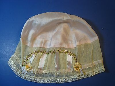 Antique Victorian Pink Silk & Lace Bed Night- Cap