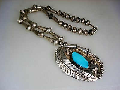 Old Navajo Sterling Silver & Turquoise Stylized Squash Blossom Necklace