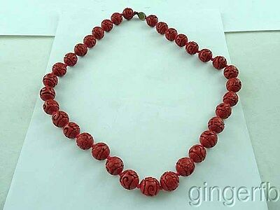 """Vintage Chinese Red Cinnabar Lacquer Carved Beads Lotus Flower 1/2"""" Beads"""