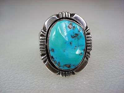 VINTAGE Nakai NAVAJO STERLING SILVER & BLUE GREEN TURQUOISE RING sz 10