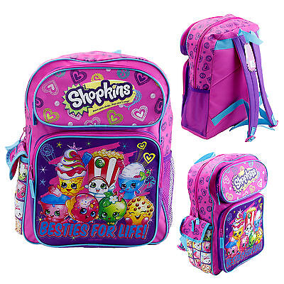 "Shopkins 12"" Toddler Backpack Kids Canvas Book Bag Besties For Life Licensed New"